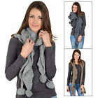 Ladies Mia Scarf Loose Knit Pom Pom Bobbles Winter Accessory Mink Indigo Or Grey