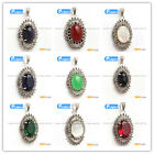 oval beads Marcasite silver pendant 20x40mm 1 pcs FREE gift box +chain