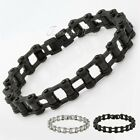 12.5MM Mens Chain Biker Motorcycle 316L Black Silver Stainless Steel Bracelet