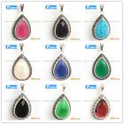 20x39mm Drip Gemstone Marcasite Silver Pendant Beads Free Necklace Chain Box