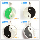 white black green shell beads yingyang silver pendant FREE box + necklace chain