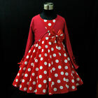 R3121 Reds Dots Princess Party Girls Dress + Cardigan Set SIZE 2,3,4,5,7,8,9,10Y