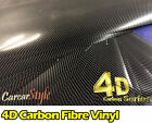 4D Gloss Black Carbon Fibre Vinyl Wrap Sticker Air/Bubble Free All Size Cheapest