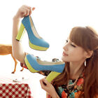 Fashion Womens Round Toe Faux suede Platform Pump Chunky high heels shoes Size