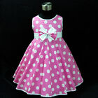 P3121 Pink Polka Dot School Party Flowers Girls Dress Age SIZE 2-3-4-5-6-7-8-10T