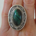 Malachite STERLING SILVER RING - size 8 P NEW 925 Chunky Large Cocktail Handmade