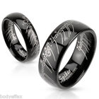 COOL MENS STAINLESS STEEL BLACK LASER ETCHED LORD OF THE RINGS LOTR WEDDING BAND