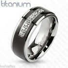 GREAT MENS SOLID TITANIUM SILVER BLACK IP WEDDING BAND RING CENTER CLEAR CZ'S