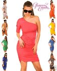 Ladies Sexy One Shoulder Stretch Party Holiday Jersey Dress Diamante Detail 183