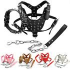 Cool Spiked Studded Leather Big Dog Harness&Collar&Leash Set for Pitbull Boxer