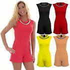 Women's Smart Sleeveless Diamond Necklace Fitted Ladies Fitted Zip Back Playsuit