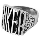 Men's New Large 316L Stainless Steel BIKER Word Letters Ring Sizes 9-18
