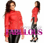 NEW SEXY SIZE 6 8 10 12 WOMEN'S FAUX LEATHER JACKET HOT CASUAL BIKER OUTERWEAR