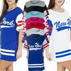 New Ladies Womens Varsity New York Print Oversized Amercian Baseball Top Tshirt