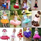 Girls 3 Layers Tutu Ballet Skirt Tulle Pettiskirt Party Dancewear Dress 1-10Y