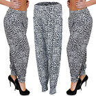 New Ladies Womens Leopard Animal Print Ali Baba Harem Hareem Trousers Size S M L