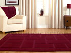 SMALL - EXTRA LARGE THICK LUXURY PILE AUBERGINE PURPLE BLOCKS SQUARES RUG SALE