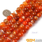 """Round Faceted Banded Red Agate Jewelry Making loose gemstone beads strand 15"""""""