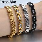 8mm Silver Black Gold Chain Bracelet for Mens Byzantine Link Stainless Steel