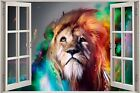 Huge 3D Window view Fantasty Lion Wall Sticker Film Mural Art Decal Wallpaper