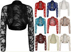 New Womens Plus Lace Long Sleeve Ladies Shrug Bolero Cropped Cardigan Top 14-18