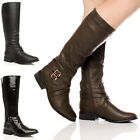 WOMENS LADIES ZIP BUCKLE LOW HEEL FLAT RIDING WIDE STRETCH CALF BOOTS SIZE