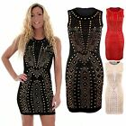 Women's Stretch Bodycon Gold Studded Party Evening Fitted Ladies Dress 8-14
