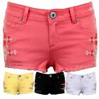 Women's Pastel Coloured Aztec Denim Summer Fitted Hot Pants Shorts Jeans 6-14