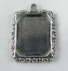 30/1000 Tibetan Silver Rectangle Frame Pendants 25x18.5mm 689