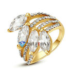 Emulational Diamond Fashion Ring Jewelry 18K Rose Gold Plated Clear Crystal