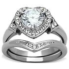 Heart Halo Round Cut cz Stainless Steel Wedding Engagement Women's 2 Ring Set