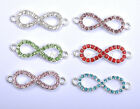 """10pcs Silver Plated Crystal Rhinestone Pave """"8"""" DIY Charms Bracelets Connectors"""