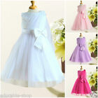 A W8910 Whites Christening Wedding Flower Girls Dresses SIZE 2,3,4,5,6,7,8,9,10Y