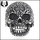 AK-005 Anillo Gotico de Calavera Decorada con Relieve en Acero Inoxidable