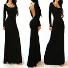 2014Fashion Lady Fit Bodycon Long Sleeve Backless Celeb Party Evening Maxi Dress