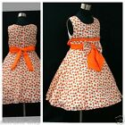 AU O6601 Orange Communion Wedding Party Flower Girls Dresses SIZE 2T,4T,6T,8T,9T