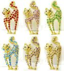 """Crystal Stretching Tail Up Kitty Cat  Pin Brooch ~ GIFT BOXED  2"""" 5cm"""