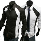 Men's Casual Shirt Fashion Long Sleeve Slim Luxury Stylish Patched Dress Shirts