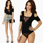 Sexy Women Mesh Insert Cutout Shoulder Jumpsuit Bodysuit Top Tee Blouse Clubwear