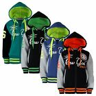 KIDS SPORTS NEW YORK FASHION VARSITY JACKET GIRLS BOYS BASEBALL HOODED TOP 1-14Y