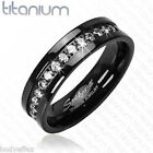 PERFECT MENS WOMENS SOLID TITANIUM WEDDING BAND RING IN BLACK W/ROUND CZ STONES