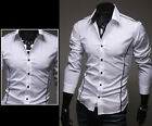 Fashion Men Long Sleeve Button Down Slim Fit Stylish Elastic Casual Dress Shirts