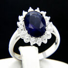 5.09 CT Solitaire Blue Sapphire CZ Engagement 925 Sterling Silver Wedding Ring