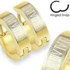 Mens Surgical Steel Gold Plated Huggie Hoop Hinged Earrings With Roman Numerals
