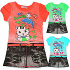 Girls Cat Print Dress With Neon Belt Kids Party Dresses Age Size 3 -10 Years New