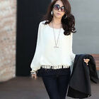 Ladies Fashion Sexy Tops Bubble Long Sleeve Chiffon Loose Casual Career Blouse