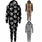 Kid's Zip Up Hooded Zebra Tiger Skull Warm All In One Children's Pyjamas Onsie