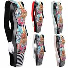 Women's Side Mesh Insert Stripe Funky Print Slimming Effect Ladies Bodycon Dress