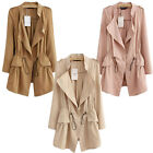 New Fashion Womens Slim Fit Coats Long Sleeve Tops Drawstring Waist Thin Jacket