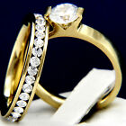 New 2 pc Womens Engagement Stainless Steel Wedding Bridal Ring Set
